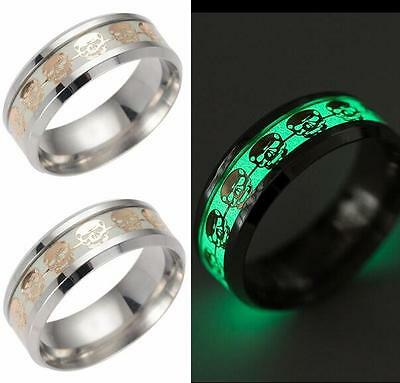 12x Luminous Skull Rings Glow In The Dark Rings Men's Stainless Steel Parry Ring