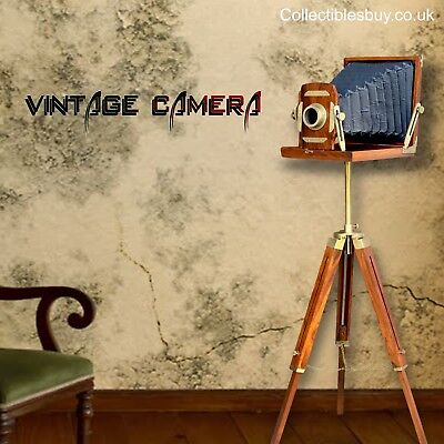 Vintage Wooden Folding Camera Home & Office Floor Decor Old Studio Movie Prop
