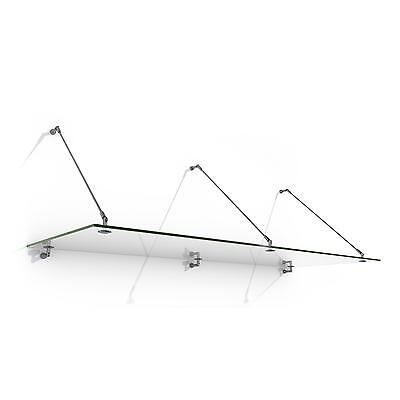 250 x 90 CM GLASS CANOPY DOOR SHOP HOME COVER SHADE STEEL DRAWBARS SAFE 6 MM
