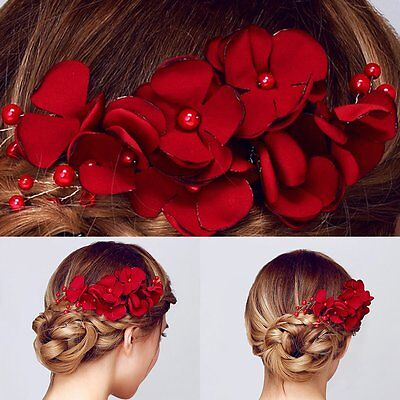 Fashion Bridal Wedding Bridesmaid Red Flower Hair Clip Hairpin Comb Accessories