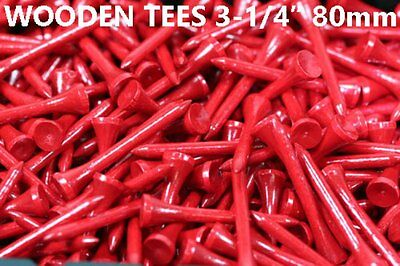 """1000 pcs WOOD TEES 3-1/4"""" 80MM FIRE RED NEW GOLF NATURAL LONG LENGTH TEE"""