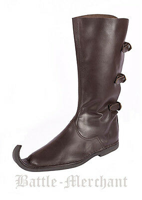Medieval Peaked Boots (Poulaines) w/ three buckles dark brown - LARP Reenactment