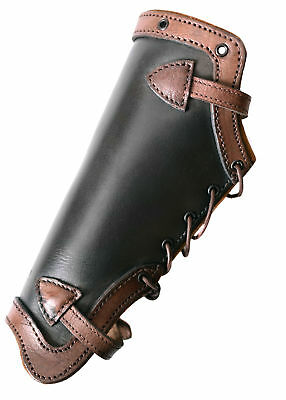 Plain Greaves, black/brown from leather - Pair - LARP - leg armour