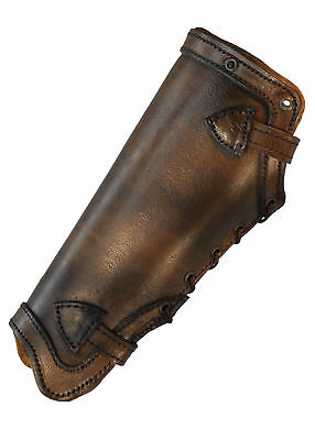 Plain Greaves, brown from leather - Pair - LARP - leg armour