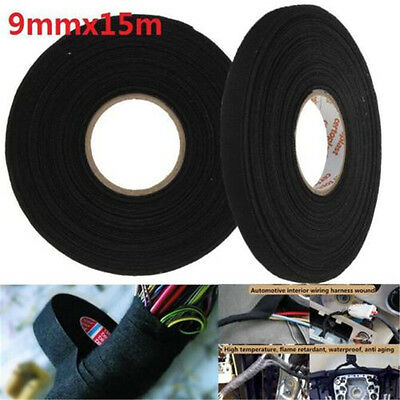 15m x 9mm x 0.3mm Black Adhesive Cloth Fabric Tape Cable Looms Wiring Harness ♫