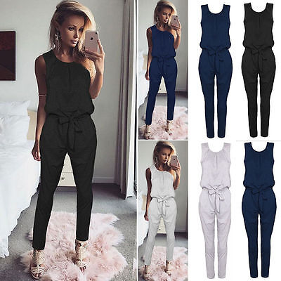 Womens Bandage Evening Party Playsuit Ladies Romper Long Jumpsuit Size 6 -16
