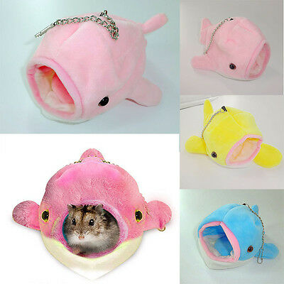 Small Animal Pet Hamster House Nest Warm Home Dolphin Shape House