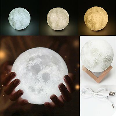 3D Magical LED Moon Night Light Lamp Touch Control Desk USB Charging Kid Gift UK
