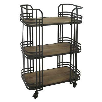 LUXE DECO 3 TIER SERVERY BAR CART Drinks Black Iron Wood Serving Tea Trays