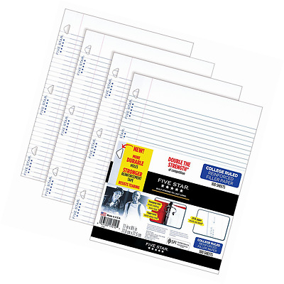 Five Star Filler Paper, College Ruled, Reinforced, Loose Leaf Paper, White, 100