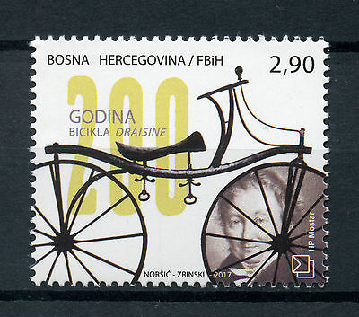 Bosnia & Herzegovina 2017 MNH Draisine Bicycle 200th Ann 1v Set Bicycles Stamps