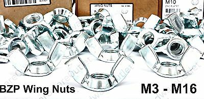 BZP Butterfly WING NUTS 8 Sizes to choose from & 4 pack sizes available Zinc