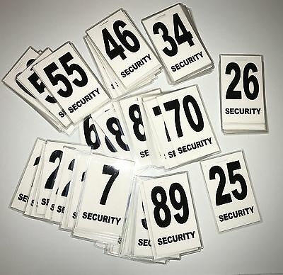 Security Guard, Crowd Controller, ID Number Tags Pack Of 50 In White $149.99