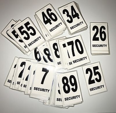 1x Security Guard, Crowd Controller, ID Number Tags In White $5.95