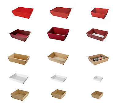 WBC Open Fluted Gift Tray Hamper Small Medium Large Cardboard