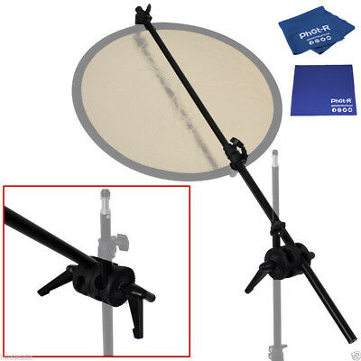PhotR Reflector Holder Double Swivel Head Clamp Bracket Microfibre Chamois Cloth