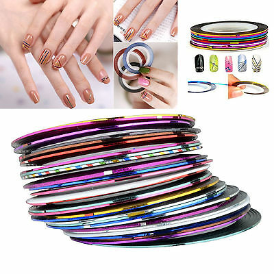 Multi Colour Color Nail Art Sticker Rolls Striping Tape Line UV Gel DIY Tips Kit