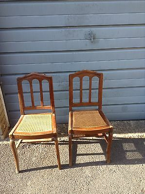 Edwardian Bedroom chairs - Cane Bottomed - Pair