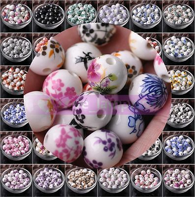 Lot Wholesale 10pcs 12mm Flower Ceramic Round Loose Spacer Beads Charms Jewelry