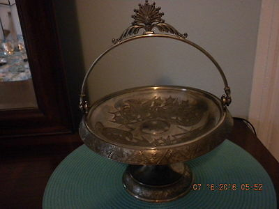 ANTIQUE VICTORIAN SILVER PLATE BRIDES BASKET Hardford Quadruple Marked #1003