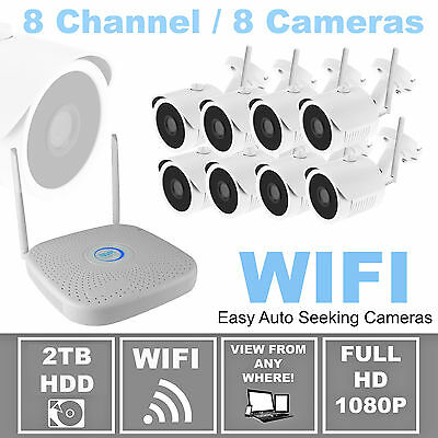 Wireless 8 CH Full HD 1080p WIFI IP Security Camera System w/ 8 Cameras by STOiC
