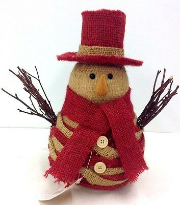 "Burlap Snowman. Burlap Hat, Scarf. Natural Twig Arms, Button Accent. 12"" Tall"