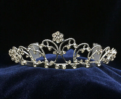 """Rhinestone With Silver Plated .Children Tiara 1.5/""""  Tall."""