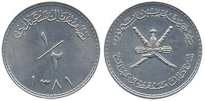 Oman Sultanate Muscat 1/2 Rial, 14 g Silver Coin, (AH1381)1961-62,KM#34,XF to AU