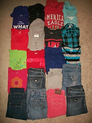 Lot Of 20 Girls Size 10 12 Namebrand Fall Winter Justice Old Navy Ae Guc!!