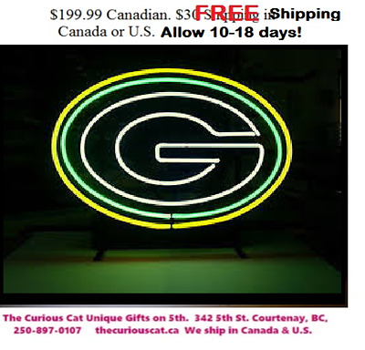 Green Bay Packers Neon Sign in Canada FREE shipping in Canada & U.S.