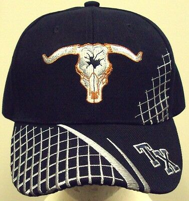 a29088c1313 Embroidered Tx Texas State Longhorns Long Horns Skull Cow Bull Cap Hat Navy  Blue