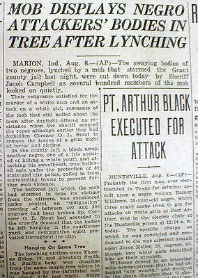 1930 newspaper - 2 NEGRO MEN LYNCHED at MARION Indiana GRANT COUNTY by WHITE MOB