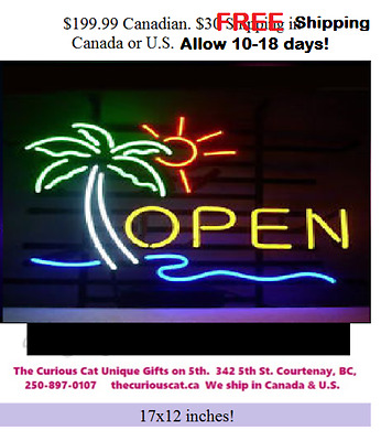 Open Palm Tree Neon Sign in Canada will ship to U.S. FREE