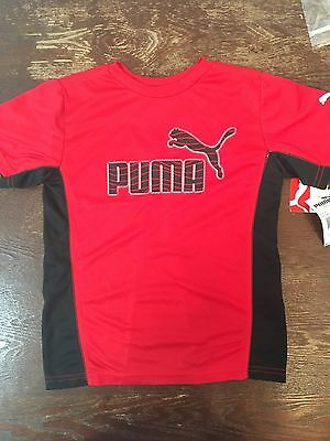 Puma T shirt Youth Kids  Size 7 Red And Black Logo