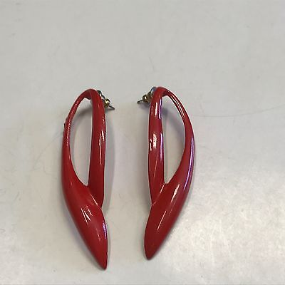 Fabulous Vintage Estate Find Large Bright Red Open Wing Earrings A13