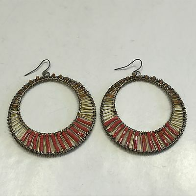 Fabulous Vintage Estate Find Large Yellow & Red Beaded Hoop Earrings A13