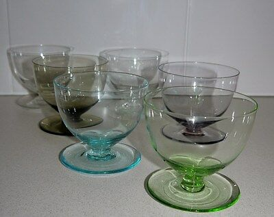 Coloured Glass Dessert Compote Bowls Vintage Retro Era c1970's Set of 6
