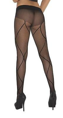 Criss Cross Pattern Design Detail Fishnet Pantyhose Nylons Hosiery Black 1776