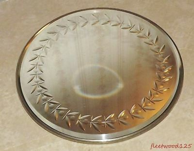 Vintage Round Beveled Edge Wall Mirror Vanity Tray w Etching Under Glass - 10""