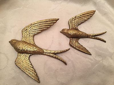 Vintage Sparrows Wall Hanging Set Lot Of 2 Gold Plastic 6""