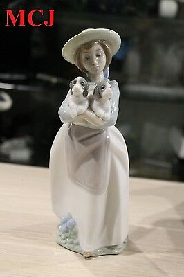 Lladro Nao Country Girl with Puppies Porcelain