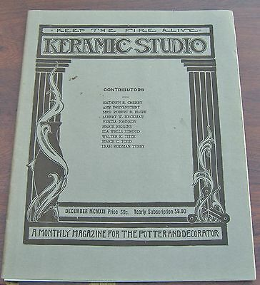 Keramic Studio Magazine Dec 1922 Toy Design Complete w Insert Fawcett School
