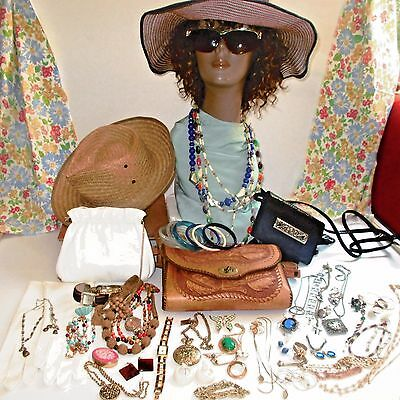 57 Piece Lot of Vintage Accessories! Hats, Gloves, Purses, Sunglasses & Jewelry!