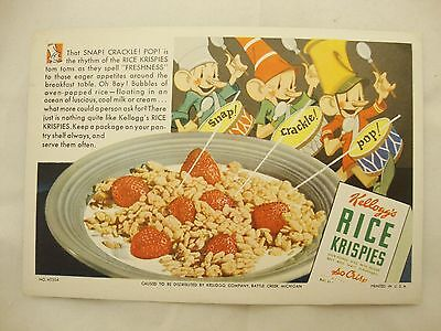 1940s Kellogg's Rice Krispies Cereal Blotter SNAP! CRACKLE! POP! Free Ship