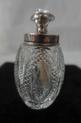 RARE VICTORIAN CUT GLASS STERLING GLUE PASTE POT JAR  SIGNED SCRAPBOOKING c.1880