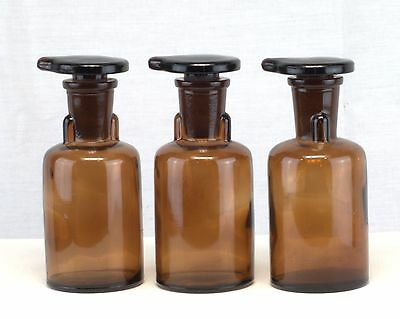 3 Vnt TCW Co WHEATON Brown Apothecary Chemistry Bottles Jars w/ Stoppers Lids