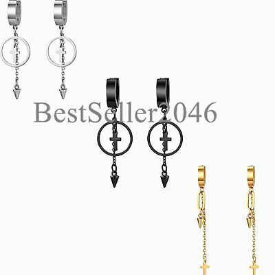 3 Pairs Men Women Huggie Hinged Hoop Cross Stainless Steel Ear Stud Earrings