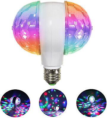 E27 6W Double-Headed LED Ball Stage RGB Light Bulb Rotating Lamp KTV Party Disco