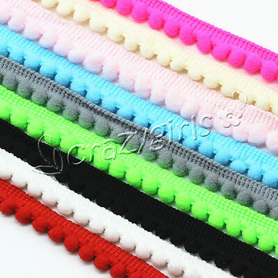 5Yards 10mm Width Pom Pom Trim Ball Fringe Ribbon DIY Sewing Accessory Lace 136054d37bd1