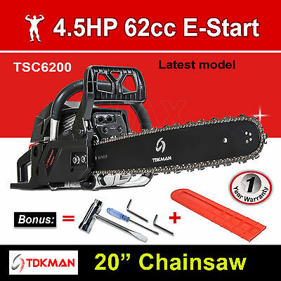 "New TDKMAN 62CC Petrol Chainsaw Chain Saw 20"" Inch Bar Tree Log Pruning Pruner"